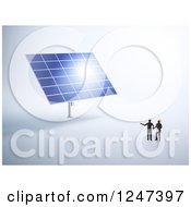 Clipart Of 3d Engineers Looking Up At A Giant Solar Panel Royalty Free Illustration