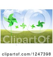 3d Field Of Windmills Under A Cloudy Blue Sky