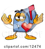 Clipart Picture Of A Blue Postal Mailbox Cartoon Character With His Heart Beating Out Of His Chest by Toons4Biz