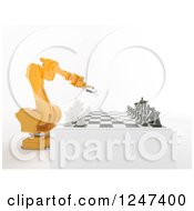 Clipart Of A 3d Orange Robotic Arm Playing Chess Royalty Free Illustration by Mopic