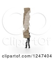Clipart Of A 3d Man Carrying A Giant Stack Of Boxes Royalty Free Illustration