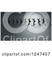 Clipart Of A 3d Line Of Wind Up Businessmen Walking Royalty Free Illustration