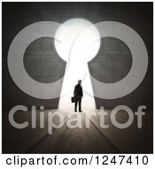 Clipart Of A 3d Businessman At A Key Hole With Bright Light Royalty Free Illustration