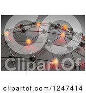Clipart Of A 3d Mesh Network Globe With Some Glowing Orbs Royalty Free Illustration