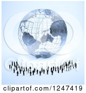 Clipart Of A 3d Wire Earth Globe And Tiny Business Men Royalty Free Illustration