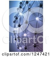 Clipart Of A 3d Mesh Network Globe With Glowing Orbs Royalty Free Illustration