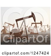 Clipart Of A 3d Landscape Of Oil Rigs Royalty Free Illustration