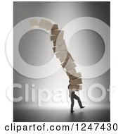 Clipart Of A 3d Man Carrying A Giant Stack Of Toppling Boxes Royalty Free Illustration