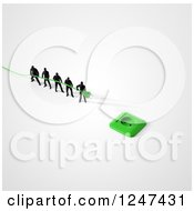 Clipart Of A 3d Team Of Tiny Men Trying To Plug In A Green Power Cord Royalty Free Illustration