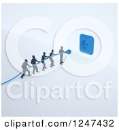 Clipart Of A 3d Team Of Tiny Men Trying To Plug In A Blue Power Cord Royalty Free Illustration