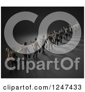 Clipart Of A 3d Line Of Wind Up Businessmen Royalty Free Illustration
