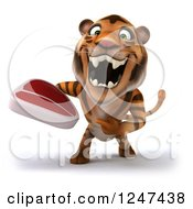 Clipart Of A 3d Tiger Holding A Steak 4 Royalty Free Illustration