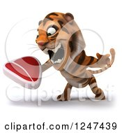 Clipart Of A 3d Tiger Roaring And Holding A Steak Royalty Free Illustration