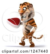 Clipart Of A 3d Tiger Walking With A Steak Royalty Free Illustration