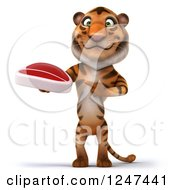 Clipart Of A 3d Tiger Holding A Steak 2 Royalty Free Illustration