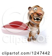 Clipart Of A 3d Tiger Holding A Steak 3 Royalty Free Illustration