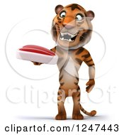 Clipart Of A 3d Tiger Holding A Steak Royalty Free Illustration