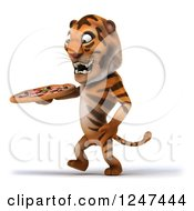Clipart Of A 3d Tiger Walking With A Pizza 2 Royalty Free Illustration