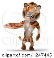 Clipart Of A 3d Tiger Walking With A Pizza Royalty Free Illustration