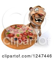 Clipart Of A 3d Tiger Holding Up A Pizza Royalty Free Illustration