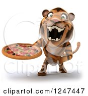 Clipart Of A 3d Tiger Roaring And Holding A Pizza Royalty Free Illustration