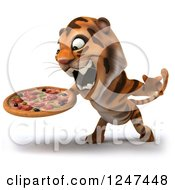 Clipart Of A 3d Tiger Roaring And Holding A Pizza 2 Royalty Free Illustration