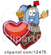 Blue Postal Mailbox Cartoon Character With An Open Box Of Valentines Day Chocolate Candies