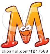 Clipart Of A Gradient Orange Capital M Alphabet Letter Character Royalty Free Vector Illustration