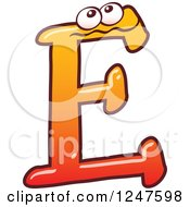 Clipart Of A Gradient Orange Capital E Alphabet Letter Character Royalty Free Vector Illustration