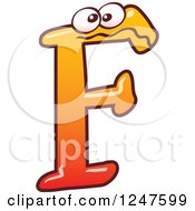 Clipart Of A Gradient Orange Capital F Alphabet Letter Character Royalty Free Vector Illustration