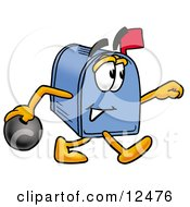 Blue Postal Mailbox Cartoon Character Holding A Bowling Ball