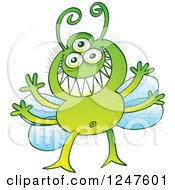 Clipart Of A Grinning Green Alien Fly Bug Royalty Free Vector Illustration by Zooco