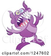 Clipart Of A Frustrated Purple Monster Royalty Free Vector Illustration by Zooco