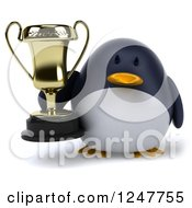 Clipart Of A 3d Penguin Holding A Trophy Cup Royalty Free Illustration