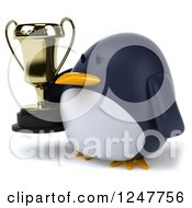 Clipart Of A 3d Penguin Holding A Trophy Cup 2 Royalty Free Illustration