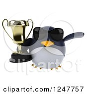 Clipart Of A 3d Penguin Wearing Sunglasses Flying With A Trophy Cup Royalty Free Illustration
