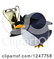 Clipart Of A 3d Penguin Wearing Sunglasses Flying With A Trophy Cup 2 Royalty Free Illustration
