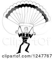 Clipart Of A Black And White Male Parachuting Royalty Free Vector Illustration