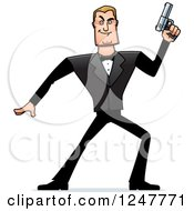 Clipart Of A Blond Caucasian Male Spy Holding Up A Pistol Royalty Free Vector Illustration