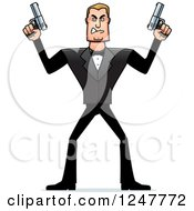 Clipart Of A Blond Caucasian Male Spy Holding Up Two Pistols Royalty Free Vector Illustration
