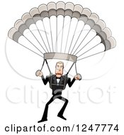 Clipart Of A Blond Caucasian Male Parachuting Royalty Free Vector Illustration