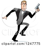 Clipart Of A Blond Sneaky Caucasian Male Spy Holding Up A Pistol Royalty Free Vector Illustration