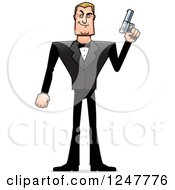 Clipart Of A Blond Caucasian Male Spy Standing And Holding Up A Pistol Royalty Free Vector Illustration