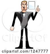 Clipart Of A Blond Caucasian Male Spy Talking Royalty Free Vector Illustration