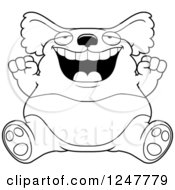 Clipart Of A Black And White Fat Koala Sitting And Cheering Royalty Free Vector Illustration by Cory Thoman