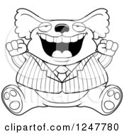 Clipart Of A Black And White Fat Business Koala Sitting And Cheering Royalty Free Vector Illustration