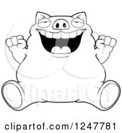 Clipart Of A Black And White Fat Business Pig Sitting And Cheering Royalty Free Vector Illustration