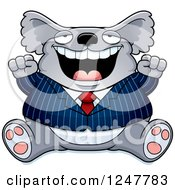 Clipart Of A Fat Business Koala Sitting And Cheering Royalty Free Vector Illustration