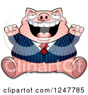 Clipart Of A Fat Business Pig Sitting And Cheering Royalty Free Vector Illustration