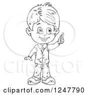 Clipart Of A Black And White School Boy Holding Chalk Royalty Free Vector Illustration